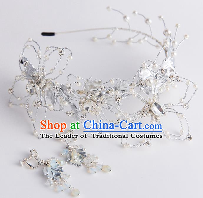 Handmade Classical Wedding Hair Accessories Bride Crystal Hair Clasp and Earrings Headwear for Women