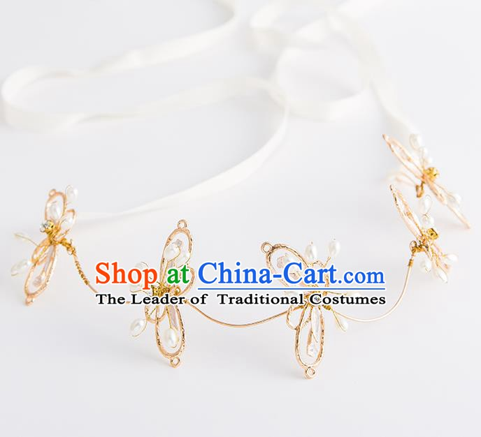 Handmade Classical Wedding Hair Accessories Bride Butterfly Hair Clasp Headband Headwear for Women