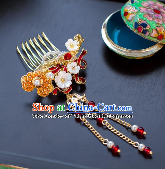 Chinese Handmade Classical Hair Accessories Xiuhe Suit Hair Comb Tassel Hairpins for Women