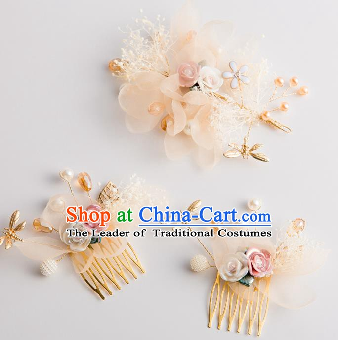 Handmade Classical Wedding Hair Accessories Bride Champagne Silk Hair Comb Hairpins Headwear for Women