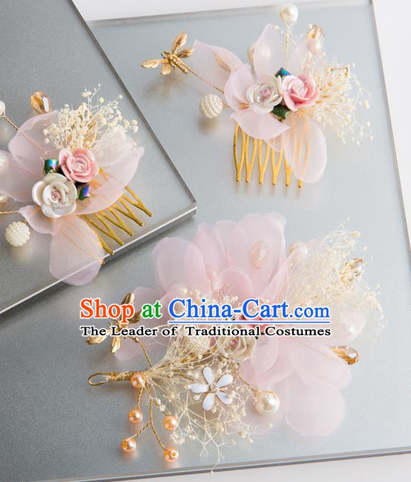 Handmade Classical Wedding Hair Accessories Bride Pink Silk Hair Comb Hairpins Headwear for Women