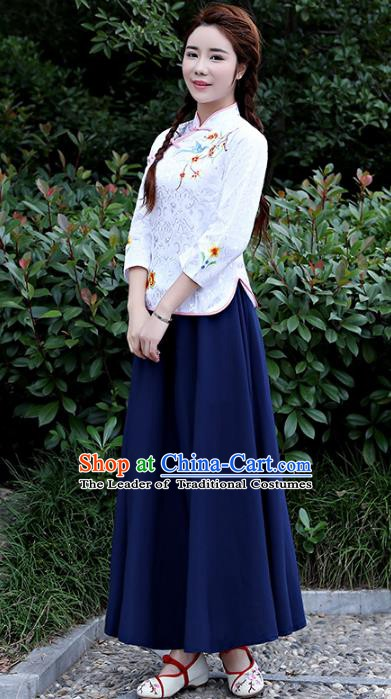 Traditional Republic of China Nobility Lady Costume Embroidered Cheongsam White Blouse and Navy Skirts for Women
