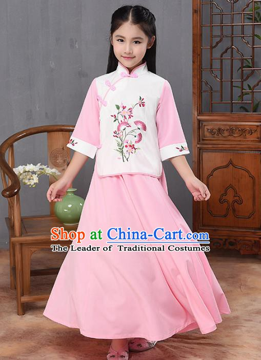 Traditional Republic of China Nobility Lady Costume Embroidered Cheongsam White Blouse and Pink Skirts for Kids