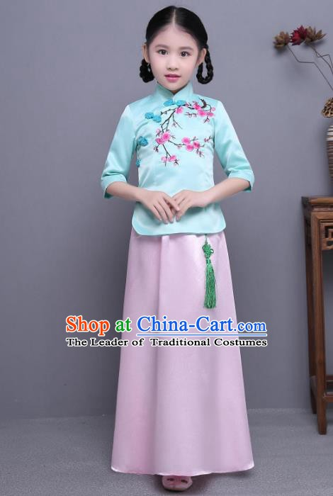 Traditional Republic of China Nobility Lady Costume Embroidered Cheongsam Blue Blouse and Pink Skirts for Kids
