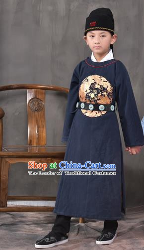 Traditional China Tang Dynasty Imperial Bodyguard Costume, Chinese Ancient Swordsman Navy Clothing for Kids