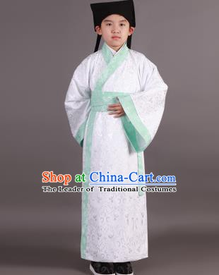 Traditional China Han Dynasty Minister Costume White Robe, Chinese Ancient Scholar Hanfu Clothing for Kids