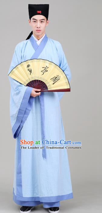 Traditional China Han Dynasty Scholar Costume Blue Robe, Chinese Ancient Chancellor Hanfu Clothing for Men