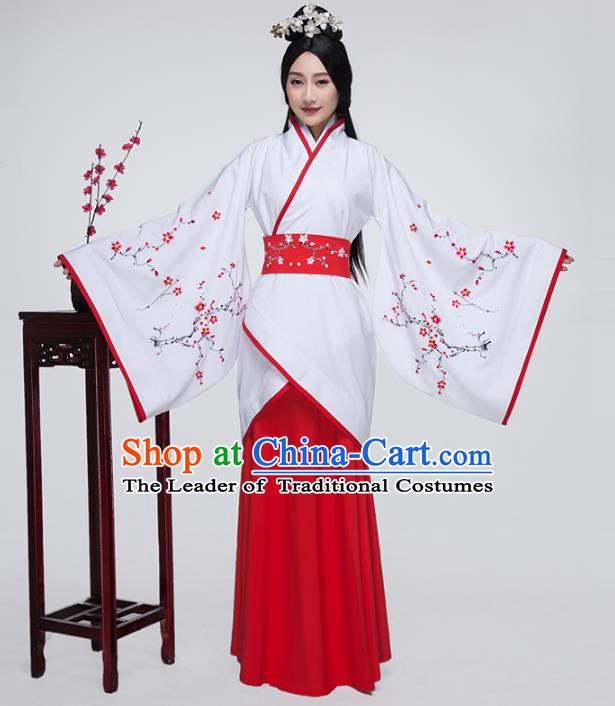 Traditional China Han Dynasty Ancient Palace Princess Costume Embroidered White Curving-front Robe for Women
