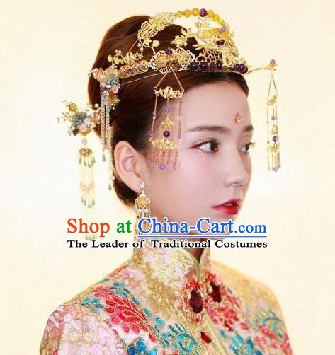 Chinese Handmade Classical Hair Accessories Xiuhe Suit Bride Tassel Phoenix Coronet Hairpins Complete Set for Women