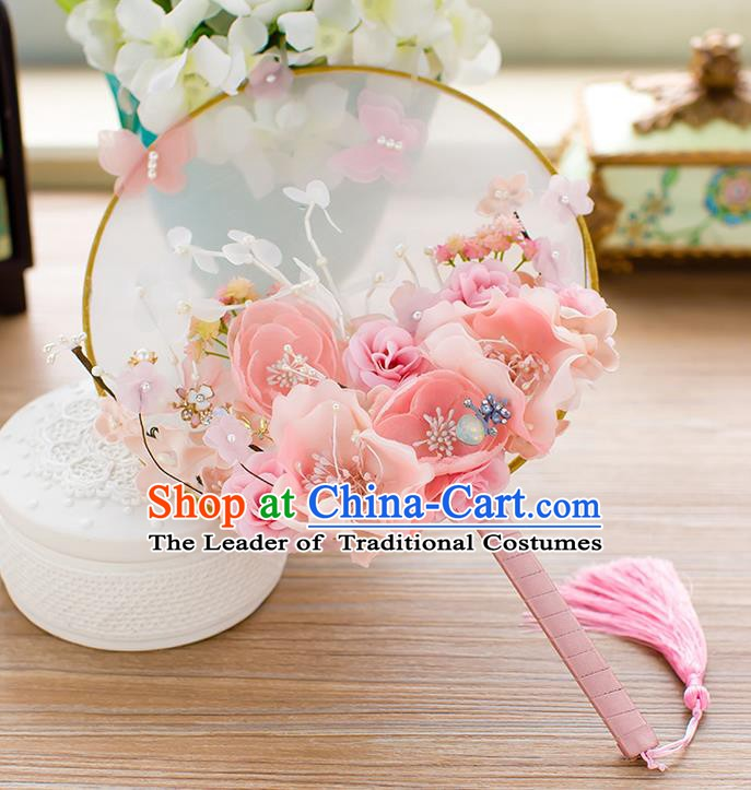 Chinese Handmade Classical Pink Peony Palace Fans Ancient Wedding Round Fans for Women