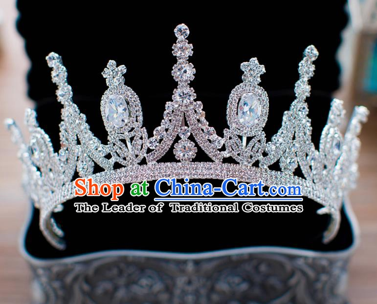 Handmade Classical Hair Accessories Baroque Bride Zircon Royal Crown Headwear for Women