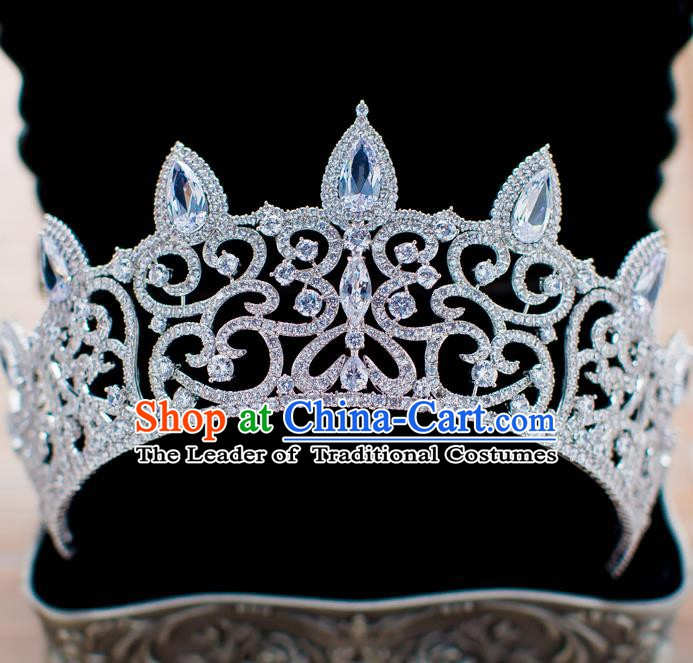 Handmade Classical Hair Accessories Baroque Bride Royal Crown Crystal Hair Coronet Headwear for Women