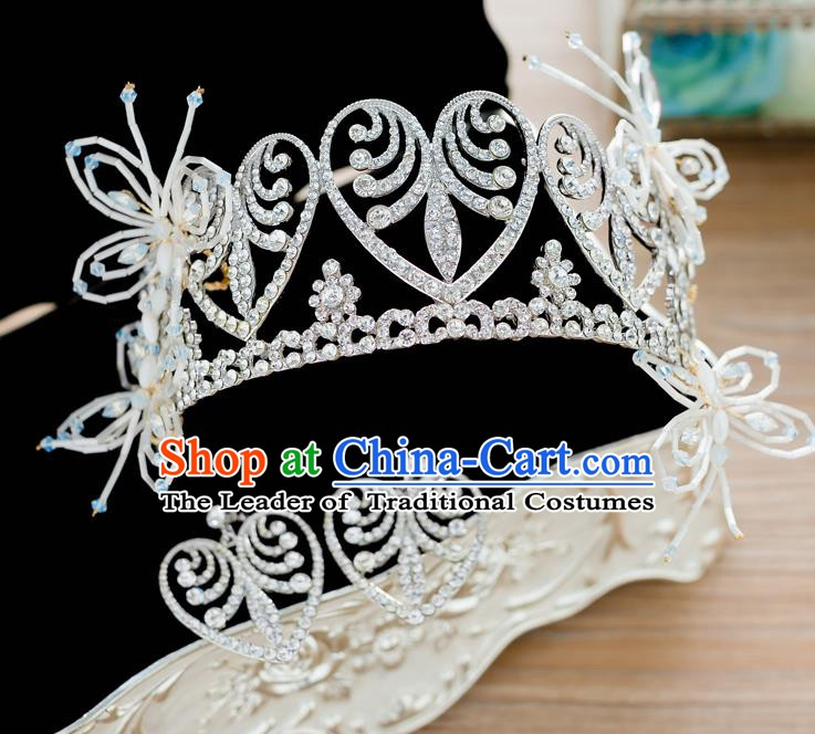 Handmade Classical Hair Accessories Baroque Bride Crystal Royal Crown Hair Coronet Headwear for Women