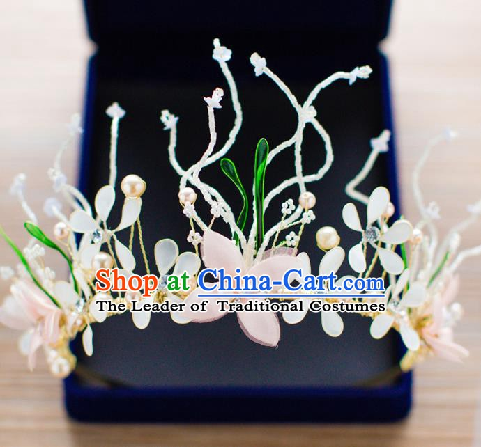 Handmade Classical Wedding Hair Accessories Bride Flowers Pearls Hair Clasp Headwear for Women