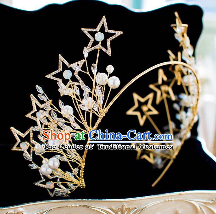 Handmade Classical Hair Accessories Baroque Bride Crystal Stars Golden Royal Crown Headwear for Women