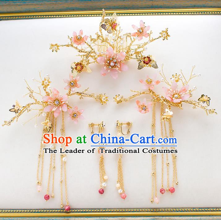 Chinese Handmade Classical Hair Accessories Wedding Bride Tassel Hairpins Complete Set