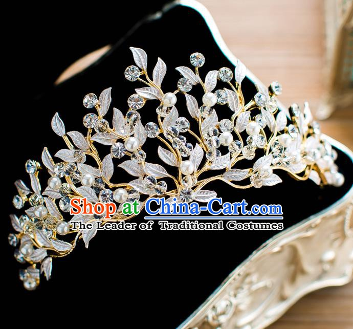 Handmade Classical Hair Accessories Baroque Bride Crystal Leaf Royal Crown Headwear for Women