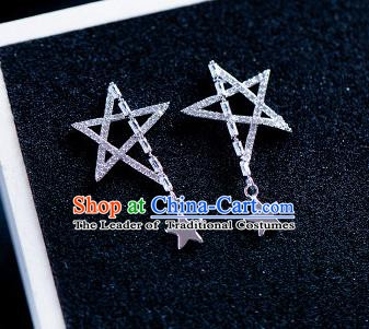 Handmade Classical Wedding Accessories Baroque Crystal Star Earrings for Women