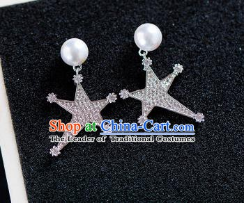 Handmade Classical Wedding Accessories Baroque Crystal Star Pearls Earrings for Women