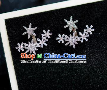 Handmade Classical Wedding Accessories Baroque Crystal Snowflake Earrings for Women