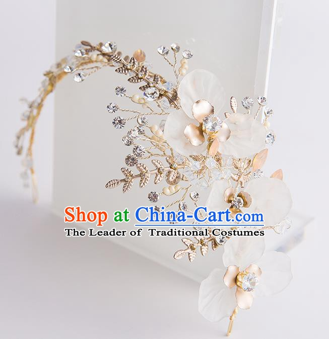 Handmade Classical Wedding Hair Accessories Bride Flowers Golden Hair Clasp Headwear for Women