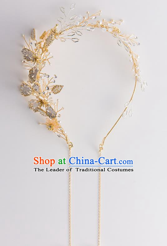 Handmade Classical Wedding Hair Accessories Bride Butterfly Tassel Golden Hair Clasp Headwear for Women