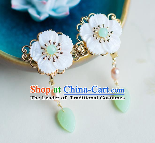 Handmade Classical Wedding Accessories Baroque Flowers Hanfu Earrings for Women
