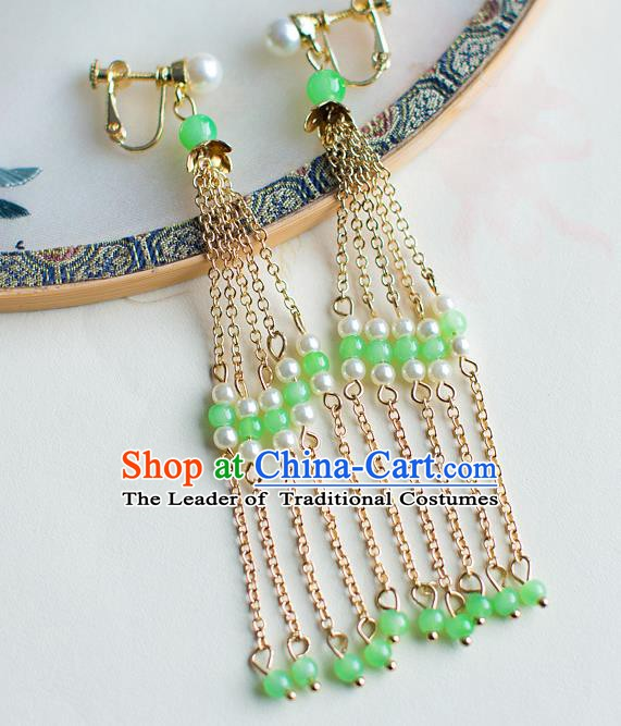 China Handmade Classical Wedding Accessories Hanfu Long Tassel Earrings for Women
