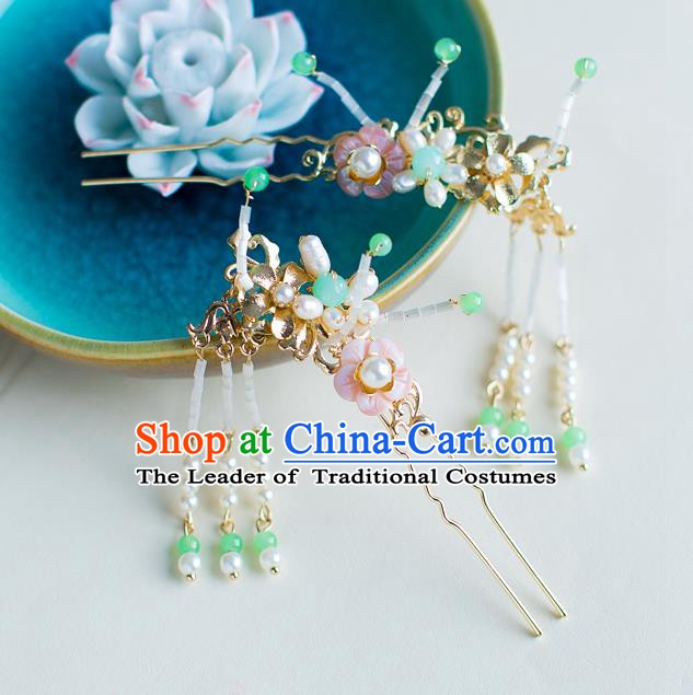 Chinese Handmade Classical Hair Accessories Wedding Hairpins Pearls Tassel Step Shake Headwear