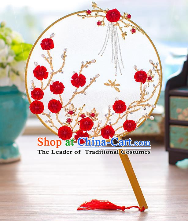 Chinese Handmade Classical Red Wintersweet Palace Fans Ancient Wedding Round Fans for Women