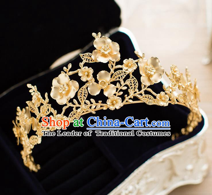 Handmade Classical Hair Accessories Baroque Bride Golden Flowers Royal Crown Headwear for Women