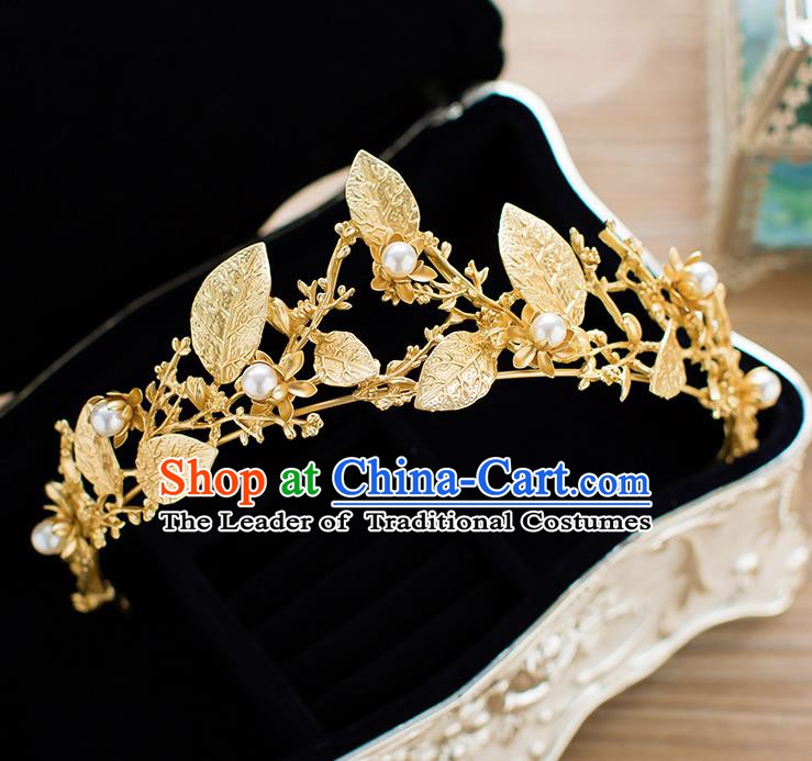 Handmade Classical Hair Accessories Baroque Bride Golden Leaf Pearls Royal Crown Headwear for Women