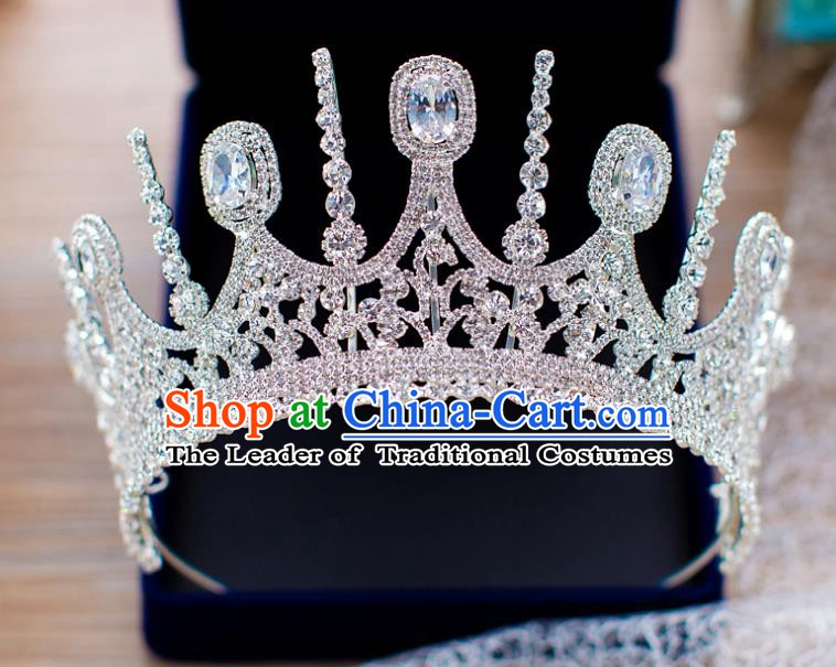 Handmade Classical Hair Accessories Baroque Bride Crystal Zircon Royal Crown Headwear for Women