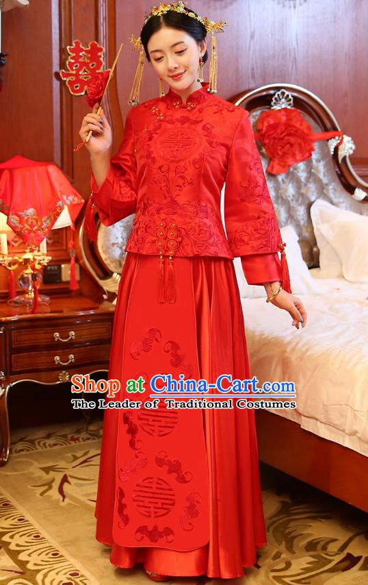 Traditional Ancient Chinese Wedding Costume, China Style Xiuhe Suits Bride Red Dress Embroidered Clothing for Women