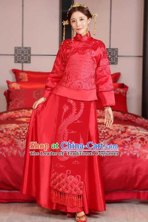 Traditional Ancient Chinese Wedding Costume, China Style Xiuhe Suits Bride Embroidered Paillette Phoenix Clothing for Women
