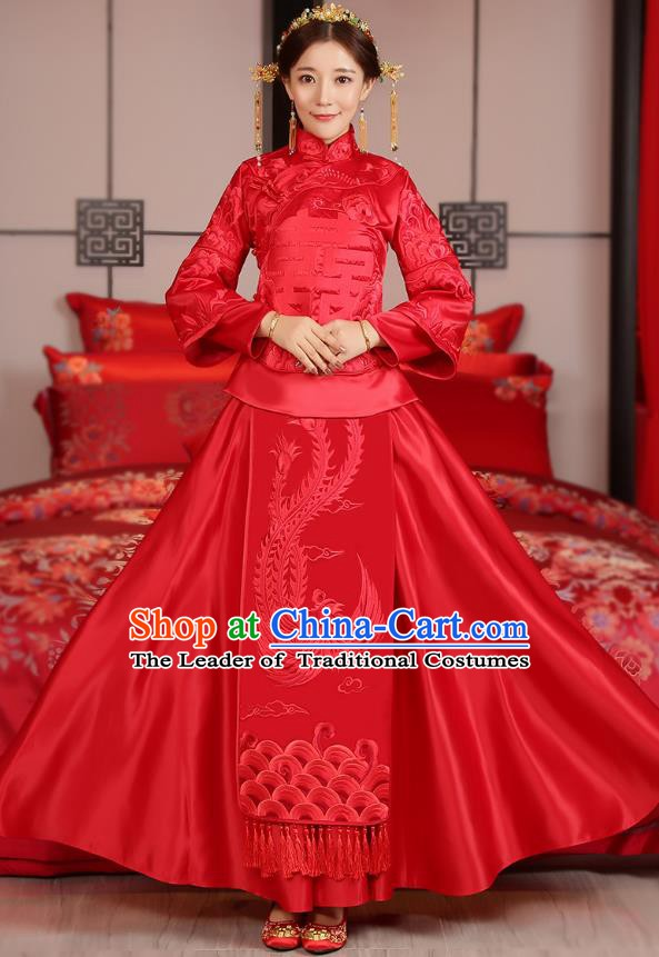 Traditional Ancient Chinese Wedding Costume, China Style Xiuhe Suits Bride Embroidered Phoenix Clothing for Women