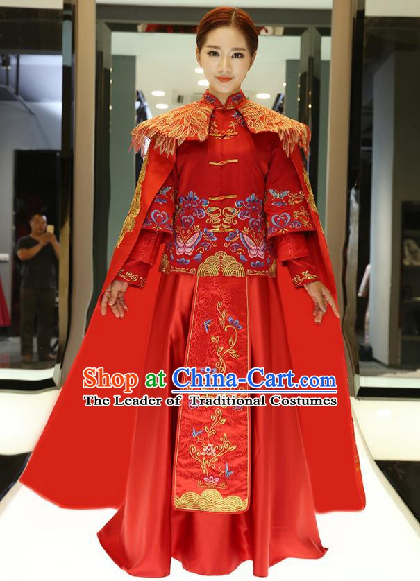 Traditional Ancient Chinese Wedding Costume, China Style Xiuhe Suits Bride Trailing Embroidered Clothing for Women