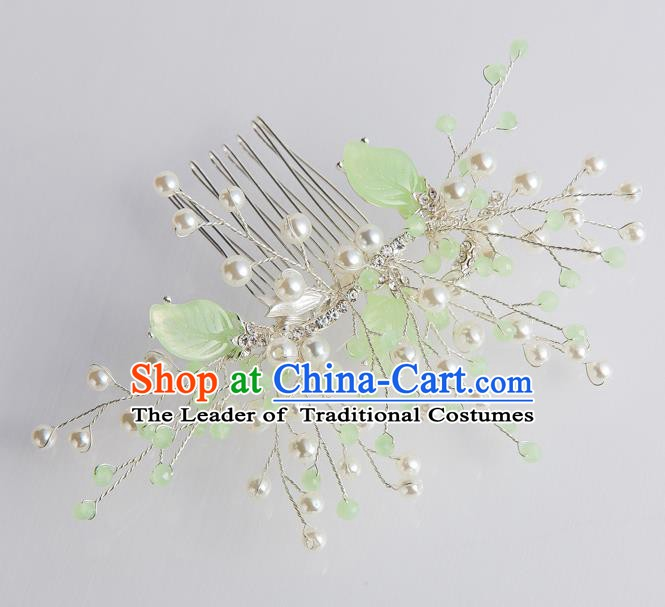 Handmade Classical Wedding Hair Accessories Bride Green Leaf Pearls Hair Combs for Women