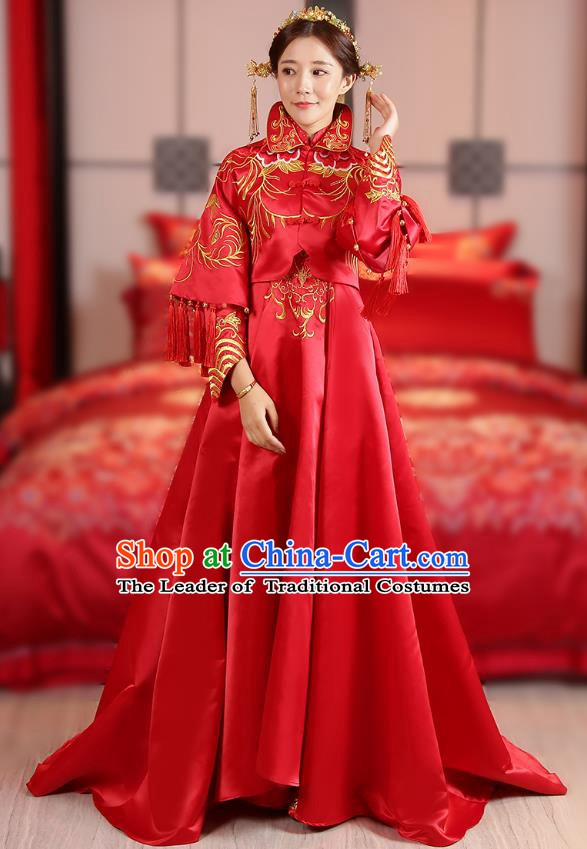 Traditional Chinese Wedding Costume Ancient Bride Trailing Red Dress Embroidered Xiuhe Suits for Women