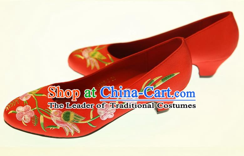 Asian Chinese Wedding Shoes Embroidered Flowers Shoes Hanfu Shoes for Women