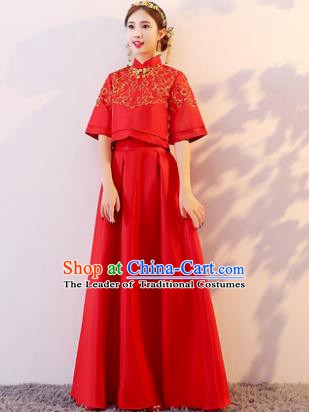 Traditional Chinese Wedding Costume Xiuhe Suit Ancient Bride Embroidered Red Dress for Women
