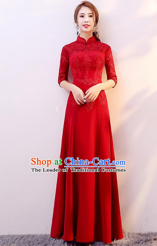 Top Grade Modern Dance Costume Chorus Group Clothing Bride Toast Red Cheongsam Dress for Women