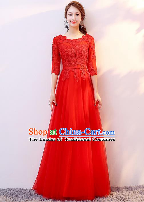 Top Grade Modern Dance Chorus Compere Costume Bride Toast Red Dress for Women