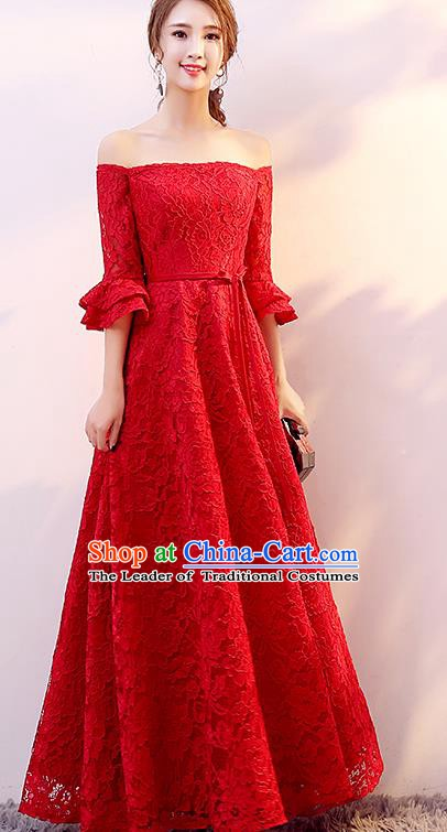 Top Grade Modern Dance Chorus Compere Costume Bride Toast Red Lace Dress for Women