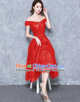 Top Grade Modern Dance Chorus Costume Red Full Dress Compere Bubble Dress for Women