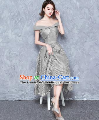 Top Grade Modern Dance Chorus Costume Grey Full Dress Compere Bubble Dress for Women