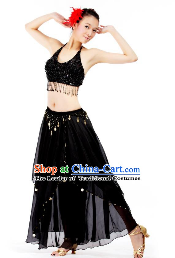 Indian Bollywood Belly Dance Black Tassel Dress Clothing Asian India Oriental Dance Costume for Women