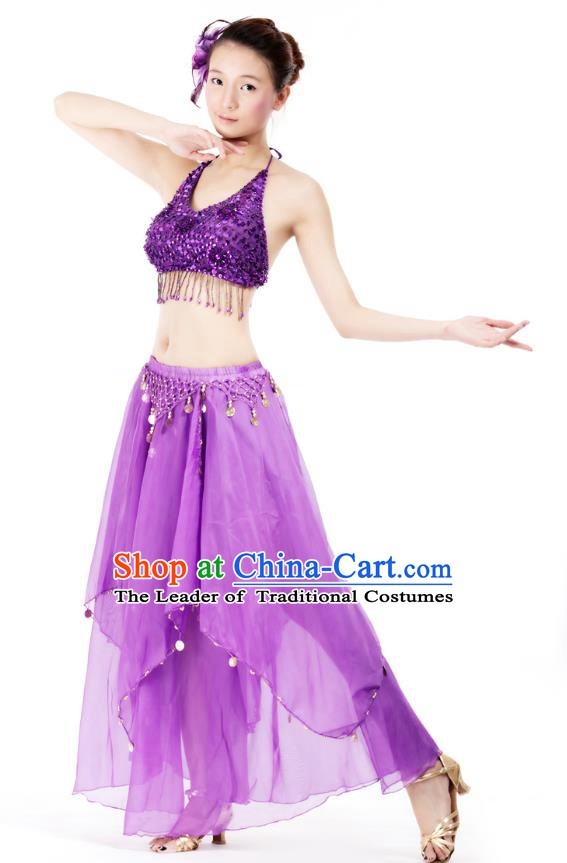 Indian Bollywood Belly Dance Purple Tassel Dress Clothing Asian India Oriental Dance Costume for Women
