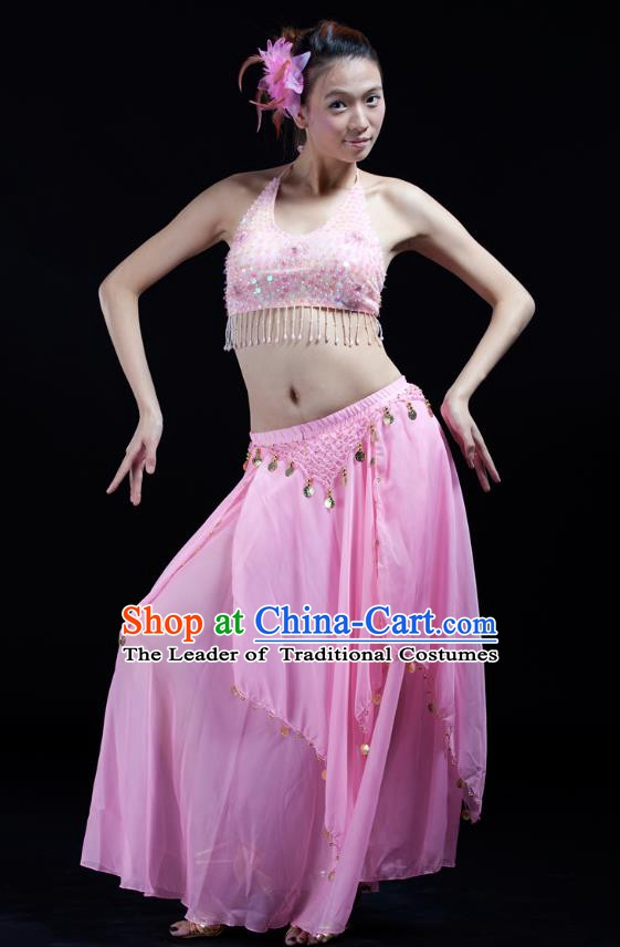 Indian Bollywood Belly Dance Pink Tassel Dress Clothing Asian India Oriental Dance Costume for Women