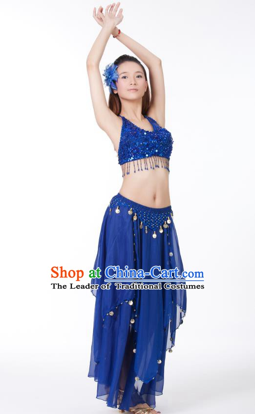 Indian Bollywood Belly Dance Deep Blue Tassel Dress Clothing Asian India Oriental Dance Costume for Women